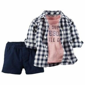 Carter's Matching Sets - Carter's Button Front Shirt, Tee, and Navy Shorts